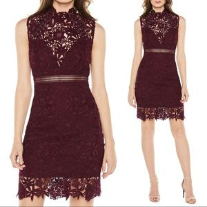 NWT Bardot Paris Lace Body-Con Dress in Burgundy